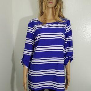 Jaclyn Smith Blue Stripe 3/4 Sleeve Blouse Large